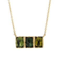 Green Tourmaline Ziggurat Bar Gold Necklace