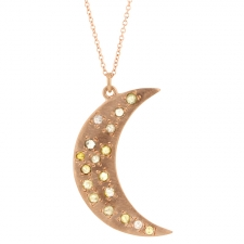 Crescent Moon Rose Gold Diamond Necklace Image