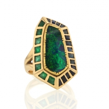 Boulder Opal Emerald and Sapphire Ring Image