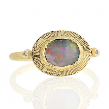 Black Opal Engraved Ellipse Ring Image