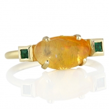 Fire Opal Cloud Emerald Ring 3 Image