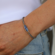 Tanzanite Icicle Gold and Siilver Silk Bracelet