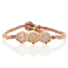 Triple Hex Rose Moonstone Silk Gold Bracelet Image