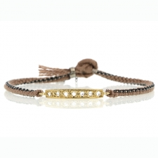14k Yellow Gold Diamond Bar Silk Woven Bracelet Image