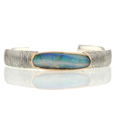 TS - Artemis Engraved Boulder Opal Silver Cuff 5 Image