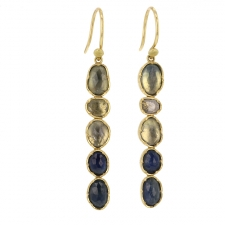 Matchstick Mixed Sapphire Diamond Earrings Image