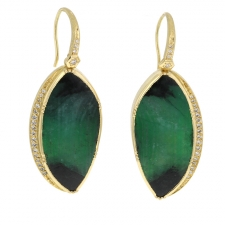 TS - Palomino Ellipse Emerald Halo Drop Earrings Image