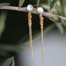 Aquamarine Waterfall 18k Gold Earrings Image