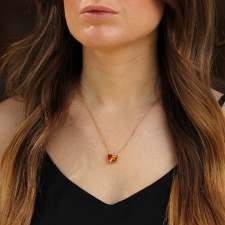 TS - Crescent Halo Fire Opal Necklace 2 Image