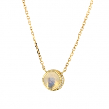 Moonstone 18k Gold Diamond Halo Necklace Image