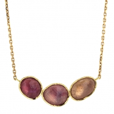 Pink Sapphire Triple Orbit Gold Necklace Image