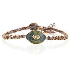 Talisman Enamel Diamond Pewter Silk and Gold Bracelet Image