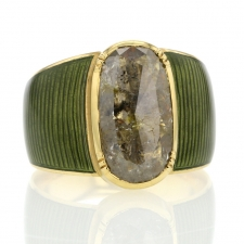 Enamel 18k Gold Diamond Ring Image