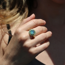 Galaxy Boulder Opal and Emerald Gold Ring Image