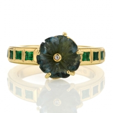 TS - Maya Flower Aquamarine Emerald Ring 2 Image
