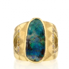 Hera Engraved Boulder Opal Pave Band Ring Image