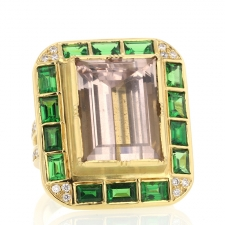TS - Hoffman Morganite Tsavorite Diamond Ring Image