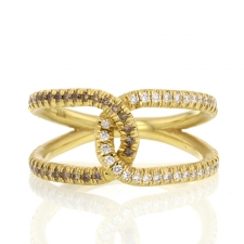 Double Love Knot Yellow Gold Mixed Diamond Ring Image