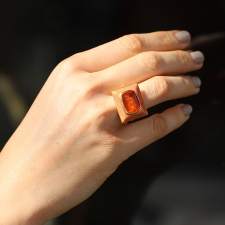 Engraved Enamelled Cabochon Fire Opal Ring Image