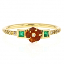 Rivera Flower Fire Opal Emerald Diamond 18k Gold Ring Image