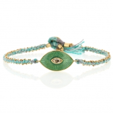 Talisman Enamel Diamond Sage Silk and Gold Bracelet Image