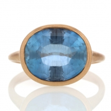 Oval Aquamarine 18k Rose Gold Ring Image