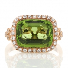 Peridot Diamond 18k Rose Gold Ring Image