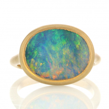 Sculptural Oval Boulder Opal 18k Gold Ring Image