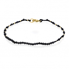 Sapphire and Gold Bead Black Cord Bracelet Image