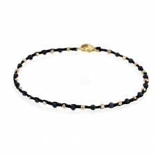 Sapphire and Gold Bead Navy Cord Bracelet Image