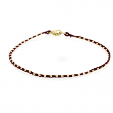 Gold Bead Wine Colored Silk Cord Bracelet Image