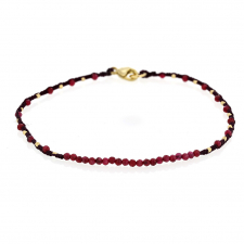 Ruby and Gold Bead Wine Cord Bracelet Image