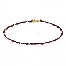 Scattered Ruby and Gold Bead Wine Cord Bracelet Image