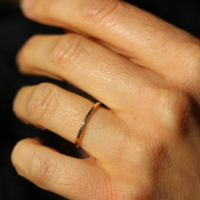 Hammered 14k Gold Thin Band Ring Image