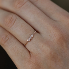 Triple Diamond Rose Gold Etched Band