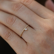 Etched Gold Pointing Diamond Ring
