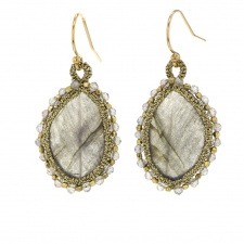 Faceted Labradorite Caged Woven Drop Earrings Image