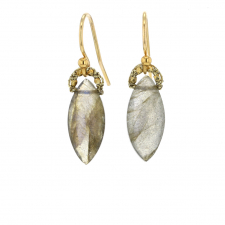 Labradorite Marquis Gold Cord Drop Earrings Image