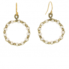White Pearl Hoop Drop Earrings Image