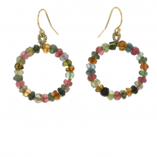 Mixed Tourmaline Woven Hoop Drop Earrings