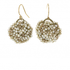 Woven Cluster Earrings with White Pearls Image