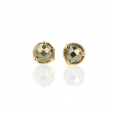 Floating Pyrite 14k Gold Post Stud Earrings Image