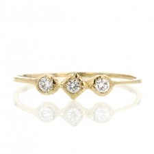 Triple Gold Circle and Square Diamond Ring Image
