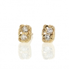 Gold Rectangular Double Diamond Gold Stud Earrings Image