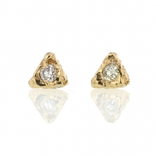 Gold Textural Triangular Post Stud Earrings with Diamonds Image