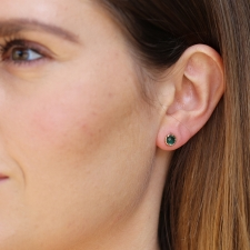 Floating Indicolite Quartz Post Stud Earrings