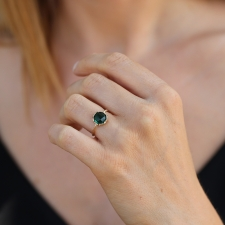 Indicolite Round Textured Gold Ring Image