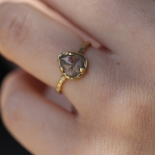 Raw Diamond Pear Gold Ring Image