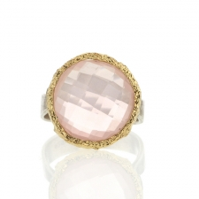 Rose Quartz Silver and Gold Ring Image