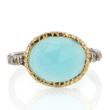 Silver and Gold Aqua Chalcedony Ring Image
